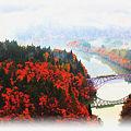 紅葉の只見川第一橋梁