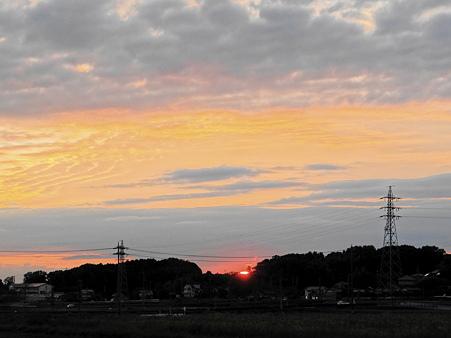 オレンジ色の夕焼け
