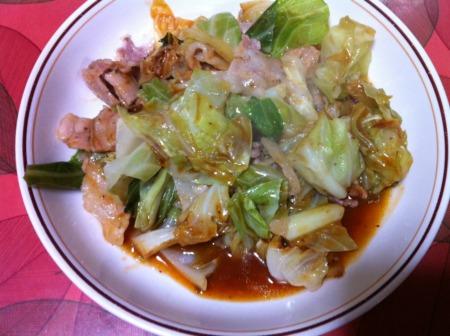 20101129夕食 麻婆キャベツ