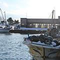 ホタテ漁船と処理場