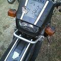 写真: バイクに貼り付けた桜文鳥(笑)